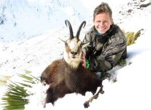 Chamois buck 10 inches in winter skin